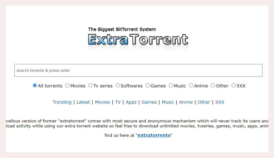 ExtraTorrent – Best 1337x alternative 2021